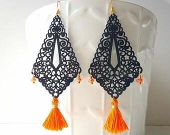 Tassel earrings, Tangerine orange earring, boho earrings, dark blue earrings, gypsy earring, long earrings, summer trend 2016, lace earrings