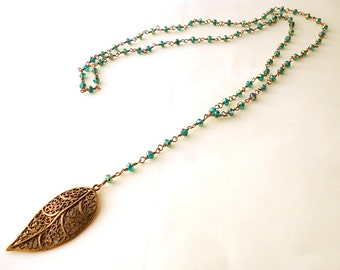 Peacock green Y long Necklace, Leaf necklace, Crystal necklace, wire wrapped necklace, Emerald necklace, trends 2018, vintage necklace