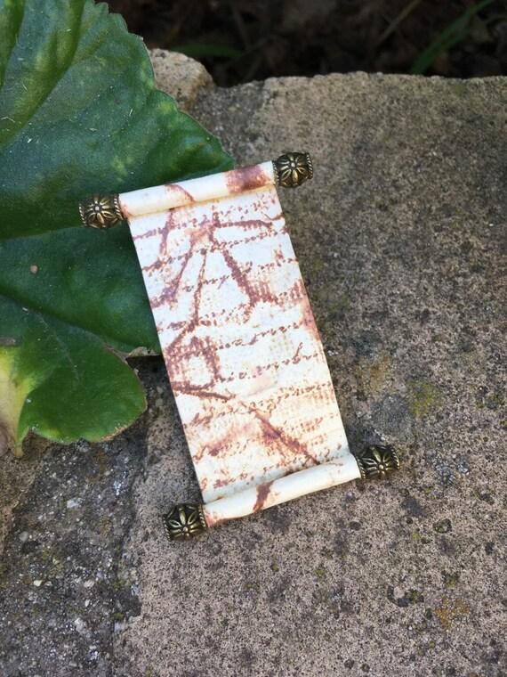 Open Spell Scroll Bronze w Writing - Dollhouse Miniature (S1)