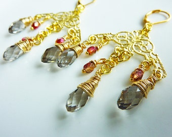 Smokey Grey Crystals Gold Filigree Chandelier Dangle Earrings, Pink, Gray