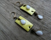 Daphne earrings.  Green apple and pale blue brass earrings.  Gift for Her.