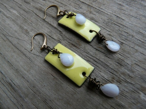 Daphne earrings.  Green apple and pale blue brass earrings.  Gift for Her.