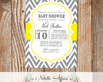 Dark Gray Charcoal and Yellow Chevron Modern Baby Shower Birthday Bridal Shower Invitation - choose your wording and colors