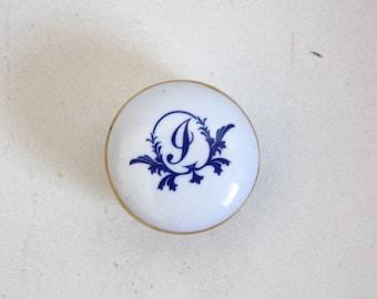 SALE 50 OFF Monogram Vintage Trinket Box Porcelain Letter I Jewelry Box Shabby Chic Monogramed Box