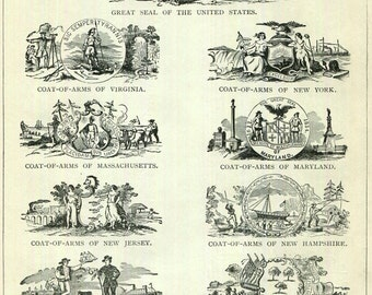 US State Coat of Arms Antique Prints 4 Sides 2 pages 1897 American History