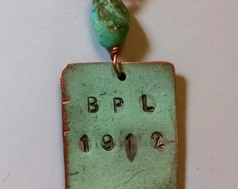 Bangor Public Library Copper Roof Medium Rectangle Necklace Limited Edition RM