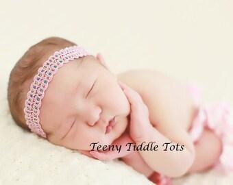 Baby Headband, Shabby Chic, Pink Sparkles Headband, Baby Girl Headbands, Newborn Headband, Infant Headband, Photo Prop