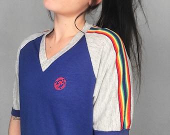 RARE 70's Rainbow Striped Raglan Ringer Tee