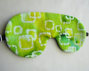 Batik Sleeping Mask, Adjusttable Sleep Mask, Green Sleep Mask