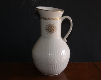 Vintage HALL Pottery Milk Pitcher With Gold Tone Greek Key And Starburst Pattern Made For The Forman Family Circa 1950s