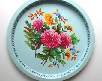 "Vintage 1960's Round Metal Blue Floral Tea Tray 12.5"" Diameter ~ Elite Trays ~ Made in England"