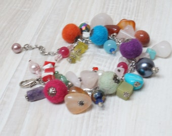 Felt balls bracelet cocktail blue red pink purple orange yellow white beads charms gemstone gem faux pearls wool chain teal turquoise