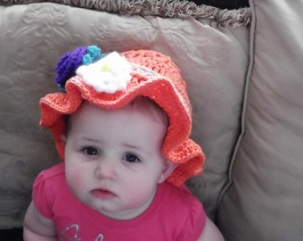 Toddler Sun Hat with Detachable Flowered Headband Crocheted Coral Hat Purple and White Flowers