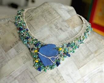 Bib Necklace Silver, Blue Stone Jewelry, Silver Wire Necklace, Glass Bead Jewelry, Lapis Beads, Magnesite