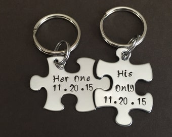 Personalized Hand Stamped Puzzle keychain  Set - Stainless Steel - Her One and His Only with Date  -Couple gift