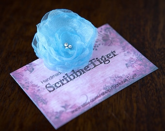 FLOWER HAIR CLIP with Swarovski crystals - Baby Blue Organza