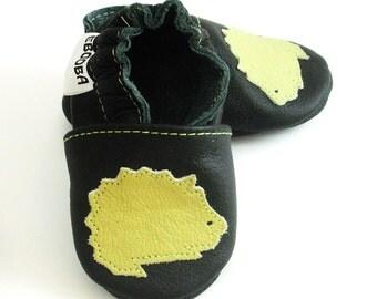 soft sole baby shoes hedgehog olive black 6 12 ebooba HG-1-B-T-2