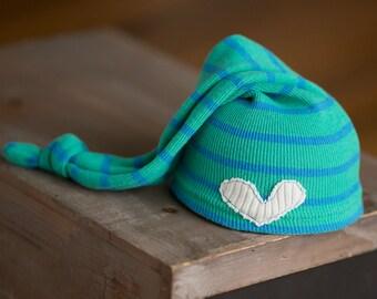 Newborn Hat, Newborn Photo Prop, Teal and Blue Striped Newborn hat with Heart, Newborn Boy Hat, Upcycled Newborn Hat, Newborn Knot Hat, RTS
