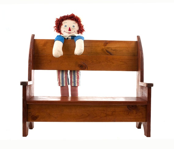 Vintage wood bench handmade doll book shelf by