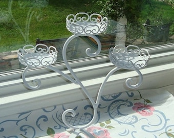 STORE WIDE SALE Satin White Triple  Candelabra  - Metal Scroll Candle holder [Alo]