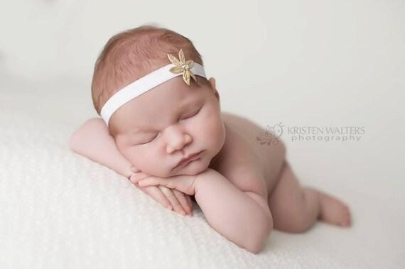 Gold Flower headband, Ivory/gold headband, Newborn headband, baby girls headband,  photography, toddlers hair accessories, infant headband