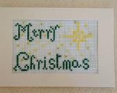 Christmas Card, Cross Stitch Card, Merry Christmas, Holiday Cards, Ready to Ship Card, Handmade Card