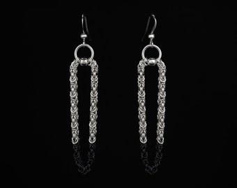 Tiny Black Byzantine Earrings | silverplated