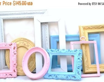 Custom Make your Nursery wall gallery decor set includes 9 frames You choose colors shabby chic baby decor