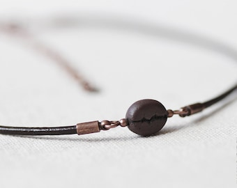 Coffee Bean Choker Necklace - Leather Choker - Food Jewelry - Layering Necklace - Chokers Collar
