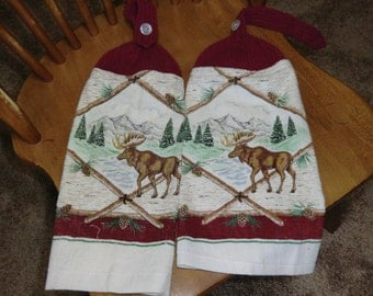 Moose & Pine Trees Knit Top Kitchen Towels