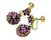 Purple Amethyst Rhinestone Earrings Vintage 1940s Screwback Dangle Flower Collectible Jewelry For Women Royal Purple Amethyst