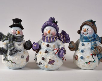 Snowman Figurines, Hand Painted Resin Statues, Christmas Decoration, Holiday Decor, Part of Sale Support Animal Rescue Charity
