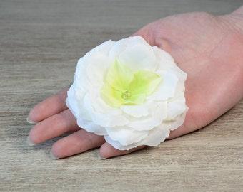White Large flowers hair clips, camellia flower hair clip, wedding hair accessories, bridal hair accessory, bridal flower hair pin, barrette