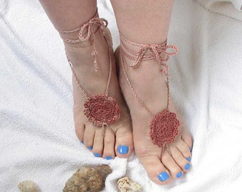 Crochet barefoot sandals - Foot jewelry - Ladies Beach Wedding accessory -Boho chic shoes -Lacing sandals -Bohemian
