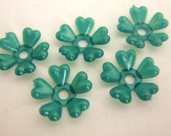 14mm Flower Green Vintage Beads Plastic 20pcs