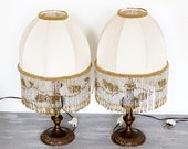 Pair of Vintage Romantic Boudoir Lamps with Beaded Fringe shades(reserved)