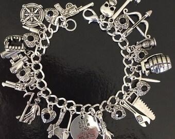Zombie Apocalypse Charm Bracelet, Zombie Plan, Zombie Charm, Zombie Army, Keep Calm and Kill Zombies