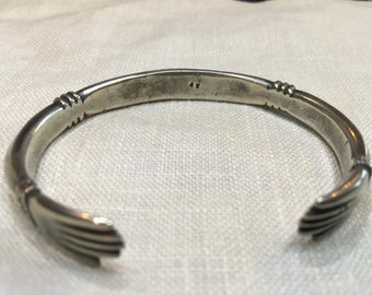 Jock Favour Ingot Silver Cuff Bracelet With Hands At Terminals