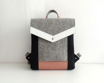 Felt Genuine Leather Backpack Black Gray White Pink