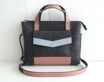 Gray Blue Pink Felt Leather Handbag