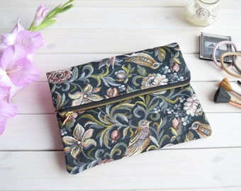 Birds fold over clutch, zipper purse, evening bags, bridesmaids clutch, wedding clutch, evening clutch, bags and purses, pouch purse, bag