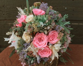 Pink, Blue, Sage and Lilac Wedding Bouquet, Preserved Rose & Hydrangea Bridal Bouquet, Dried Flower Bouquet, Hydrangea Brides Bouquet