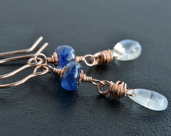 Moonstone and Tanzanite Earrings, Rose Gold Jewelry, Blue and White Gemstones, Handmade, 14K Rose Gold Filled