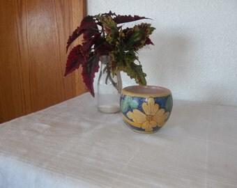Hand made hand painted cache pot southwestern blue cobalt tan orange planter signed