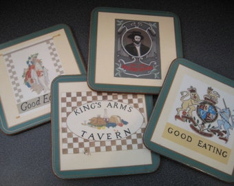 Vintage Pimpernel Bar Coasters, Made in England, Set of Four