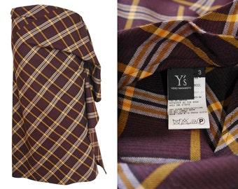 YOHJI YAMAMOTO 1990s Vintage Asymmetrical Plaid Skirt US Size 6 Small