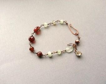 Beaded Bracelet, Cranberry And Aqua, Rosary Chain, Beaded Link, Rhinestone Charm, Boho Bohemian Chic Jewelry, Fashion Accessory, Rustic Chic