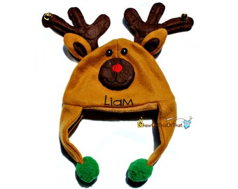 Rudolf Red Nose Reindeer Christmas Hat Personalized with Name for Infants & Babies, Winter Ear Flaps Character Hat with Baby Cap, Photo Prop