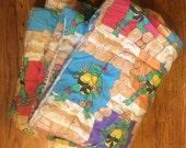 Ninja Turtle bed spread HAS ISSUES TMNT blanket fabric 80s bedroom / dog bed playtime