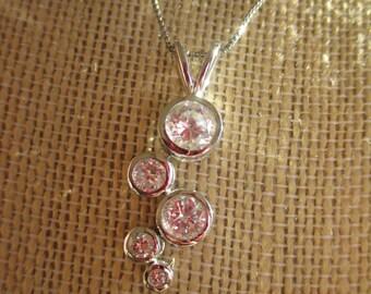 Vintage 925 Bezel Set 5 CZ Diamond Pendant on 925 Italy Chain, CZ 925 Pendant, Gift For Her, Birthday, Anniversary, Bridesmaid Gift